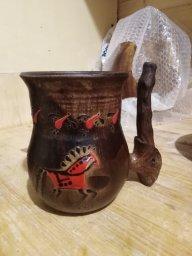 Кружка с глазурной мезенской росписью